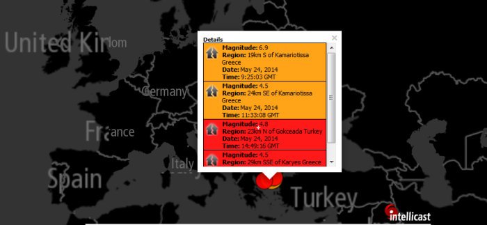 Magnitude: 6.9 Region: 19km S of Kamariotissa Greece Date: May 24, 2014 Time: 9:25:03 GMT Magnitude: 4.5 Region: 24km SE of Kamariotissa Greece Date: May 24, 2014 Time: 11:33:08 GMT Magnitude: 4.8 Region: 23km N of Gokceada Turkey Date: May 24, 2014 Time: 14:49:16 GMT Magnitude: 4.5 Region: 29km SSE of Karyes Greece Date: May 24, 2014 Time: 16:50:02 GMT