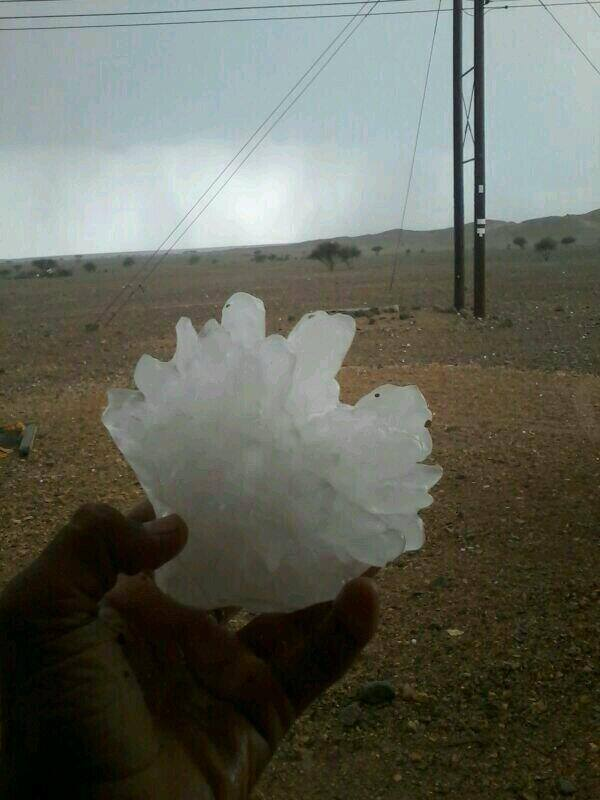 5-5-2014: Large hail in Oman, Arabian. Source: WTINFO tornado research project