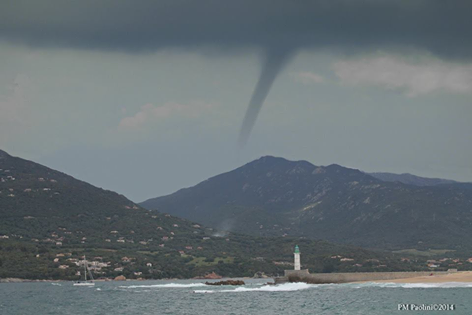 This landspout developed over Olmeto, SW Corsica on May 5 and was reported by Keraunos Observatoire. Photo by PM Paolini. Full report: http://www.keraunos.org/actualites/faits-marquants/2014/tornade-olmeto-3-mai-2014-corse-du-sud-propriano.html