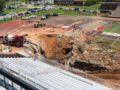 The construction on the sinkhole continues at Governors Stadium on Wednesday, May 21, 2014. (Credit: Austin Peay State University)