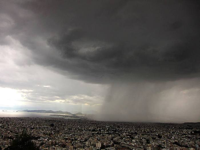 5-5-2014: isolated storm over Athens, Greece.  Photo by Thanasis Mpou!