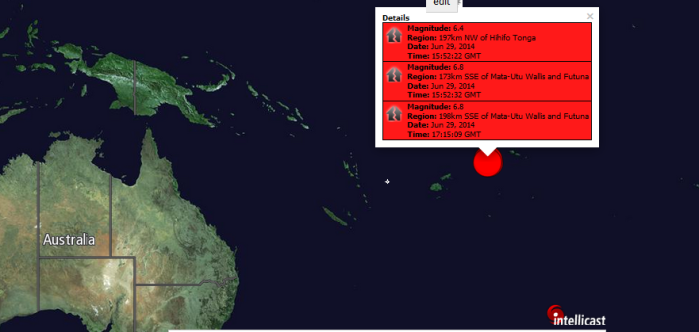 Magnitude: 6.4 Region: 197km NW of Hihifo Tonga Date: Jun 29, 2014 Time: 15:52:22 GMT Magnitude: 6.8 Region: 173km SSE of Mata-Utu Wallis and Futuna Date: Jun 29, 2014 Time: 15:52:32 GMT Magnitude: 6.8 Region: 198km SSE of Mata-Utu Wallis and Futuna Date: Jun 29, 2014 Time: 17:15:09 GMT