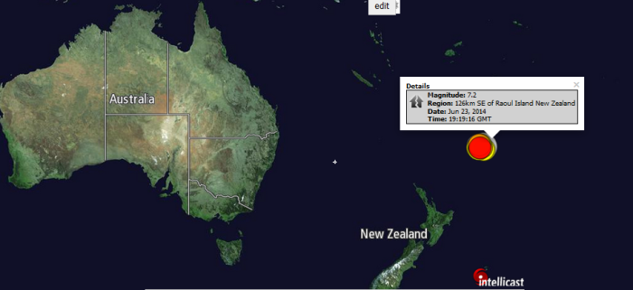 Magnitude: 7.2 Region: 126km SE of Raoul Island New Zealand Date: Jun 23, 2014 Time: 19:19:16 GMT