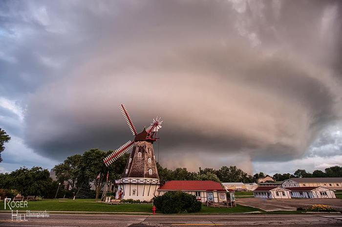 """via Roger Hill Photography: """"Danish Mothership"""".......Not really, but, this tornadic supercell graced the Danish town of Elk Horn, Iowa June 29th. How often would you EVER see a mothership supercell over a windmill?????"""