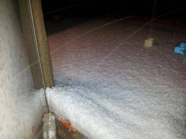 6-17-2014: Enormous hail accumulation this evening in Vallmoll, Tarragona, Spain. Source: Cazatormentas.Net