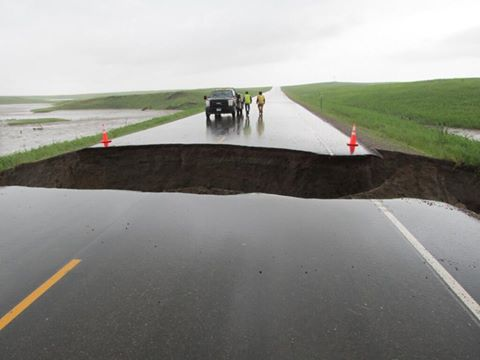 6-18-2014: Turn around, don't drown! The South Dakota Highway Patrol took this photo of some of the damage cased by heavy rain and flooding in Perkins County, SD.