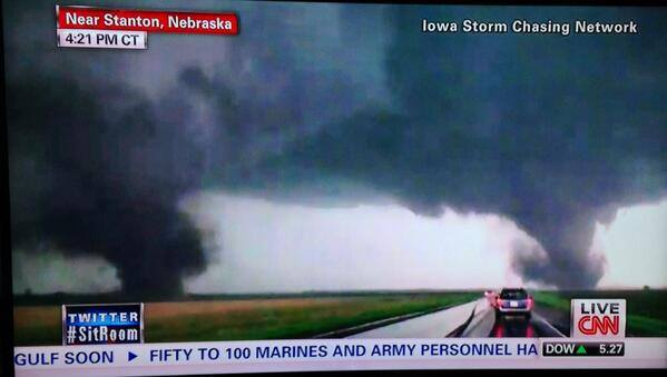 6-16-2014: Large twin tornadoes near Stanton, NE!