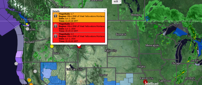 Magnitude: 1.7 Region: 29km ENE of West Yellowstone Montana Date: Jun 2, 2014 Time: 11:24:18 GMT Magnitude: 2.4 Region: 29km ENE of West Yellowstone Montana Date: Jun 2, 2014 Time: 20:19:13 GMT Magnitude: 2.3 Region: 29km ENE of West Yellowstone Montana Date: Jun 2, 2014 Time: 20:19:45 GMT