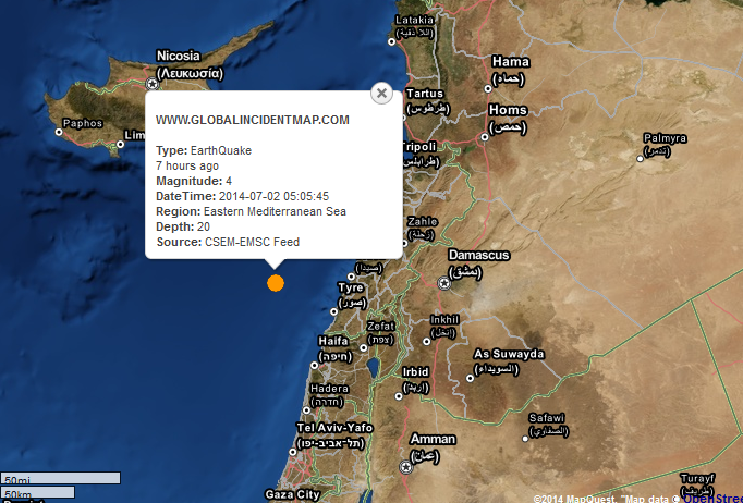 4.0M Earthquake EASTERN MEDITERRANEAN SEA - 2014-07-02 10:05:45 UTC