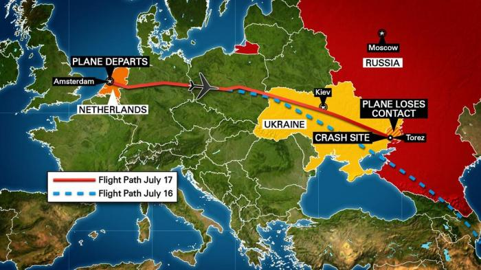 Map shows intended and actual flight path of plane believed shot down in Ukraine