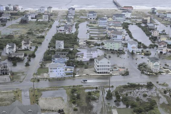 Flooding from Hurricane Arthur is pictured on the Outer Banks of North Carolina in this July 4, 2014 aerial handout photo provided by the U.S. Coast Guard. Credit: REUTERS/U.S. Coast Guard/Handout via Reuters