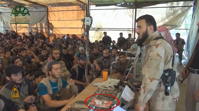 A video of a jihadist commander in Syria drawing inspiration for an impassioned speech to his fellow militants from a little girls' favorite Hello Kitty note pad has gone viral on the internet. The address by Zahran Alloush, the head of Jaysh al-Islam, was aimed against the rival Islamic State of Iraq and the Levant (ISIS).