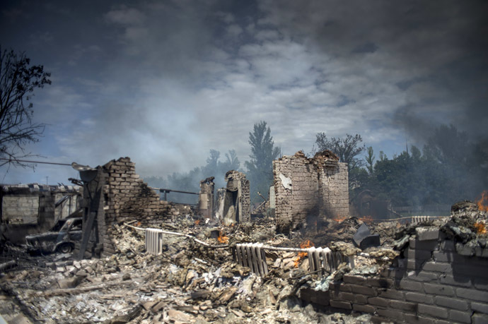 A house destroyed in the Ukrainian armed forces' air attack on the village of Luganskaya. (RIA Novosti/Valeriy Melnikov)