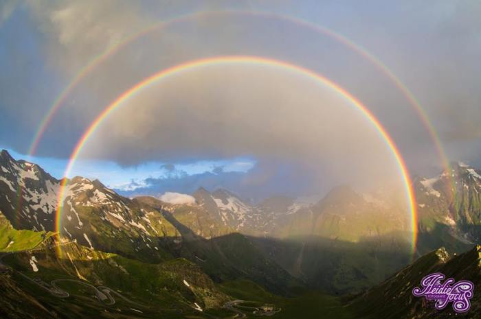 8-9-2014: double rainbow from NW Austria this morning - WOW! Source: Heidie Duteweert - www.facebook.com/heidiefocuss