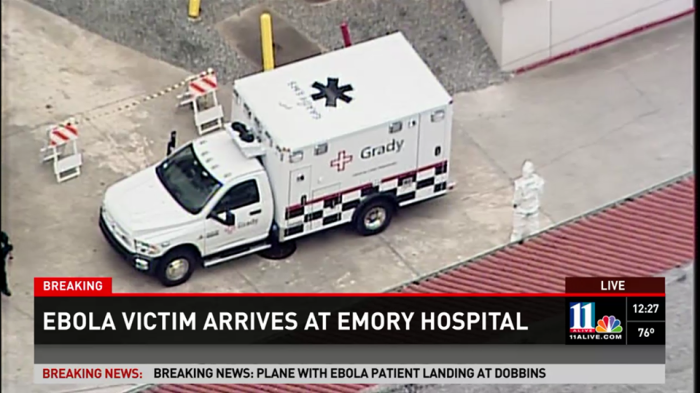 8-2-2014: BREAKING: Doctor with deadly Ebola virus has arrived at Emory University Hospital in Atlanta, GA.