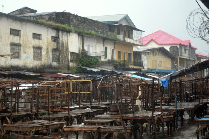 8-22-2014: A street market remains empty in Monrovia's West Point slum as part of quarantine measures to contain the spread of Ebola in Liberia.