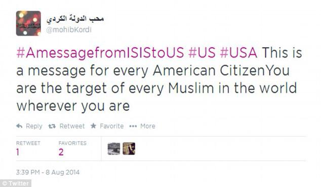 8-8-2014: Supporters of the ISIS terror group tweeted thousands of messages on Friday bearing the hashtag #AmessagefromISIStoUS featuring gruesome photos and threats to U.S. soldiers and citizens after American airstrikes took out terrorist targets in Iraq for the first time. Some tweeted photos depict dead U.S. Army soldiers, U.S. marines hung from bridges in Fallujah, decapitated men, human heads on spikes, and the twin towers in flames on September 11, 2001. 'This is a message for every American citizen,' read one message sent with the hashtag. 'You are the target of every Muslim in the world wherever you are.'