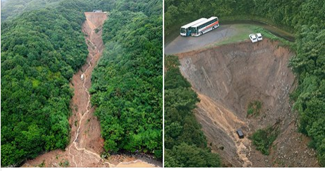 Two cars were left teetering on the edge of a cliff after a heavy rainstorm caused the landslide at a car park in Tokushima