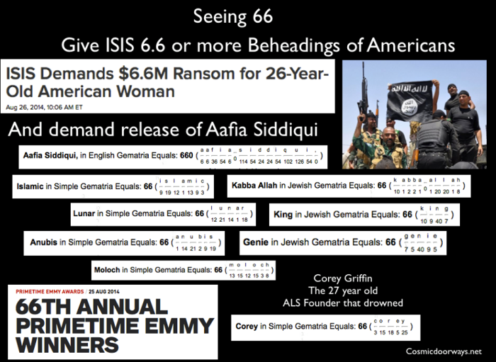 "8-27-2014: Mark Gray -  ISIS demands 6.6 Million Dollars to save the life of an American woman..... Which Multi -Billionaire will give them money? 6.6 Million or LIFE - Which is worth more? After the announcement from ISIS, the 66th Emmys Aired. ISIS also demand release of ""Aafia Siddiqui"". ""Aafia Siddiqui"" = 660 in Gemetria"
