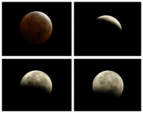"10-8-2014: A combination photo shows the moments during and after a total lunar eclipse, also known as a ""blood moon"", pictured from Encinitas, California,"