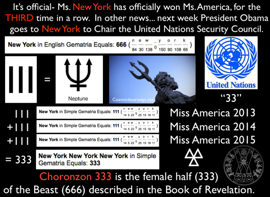 "9-16-2014: Keys to Cosmic Doorways -   For the first time in History, it's THREE in a row! Ms. New York Ms. New York Ms. New York For three years in a row the winner of the Ms. America contest is from NEW YORK. At the same time- President Obama is planning to Chair the United Nations Security Council in---- NEW YORK. It has been 5 years since a US President has Chaired at the UN. The LAST TIME, and ONLY OTHER TIME, a US President has chaired the UN Security Council, was in 2009, and that too was President Barack Obama. The numbers are auspicious. New York = 111 = The Trident New York -New York- New York (3x) = ""333"" 333 is a number of High Magic, it is the number of ""Choronzon"". She is the FEMALE half ""333"" of the Beast in the Bible ""666"" Choronzon is a demon or devil that originated in writing with the 16th-century occultists Edward Kelley and John Dee within the latter's occult system of Enochian magic. In the 20th century he became an important element within the mystical system of Thelema, founded by Aleister Crowley, where he is the Dweller in the ABYSS, believed to be the last great obstacle between the adept and enlightenment. Thelemites believe that if he is met with proper preparation, then his function is to destroy the ego, which allows the adept to move beyond the ABYSS of occult cosmology. Revelation 9:11 -- ""They had as king over them the angel of the ABYSS, whose name in Hebrew is Abaddon and in Greek is Apollyon (that is, Destroyer). As a side note, the UN logo is made of ""33"" sections, another number of high Magic that relates to transformation and resurrection. As well, in English Gemetria, New York = 666, the number of man, the beast."