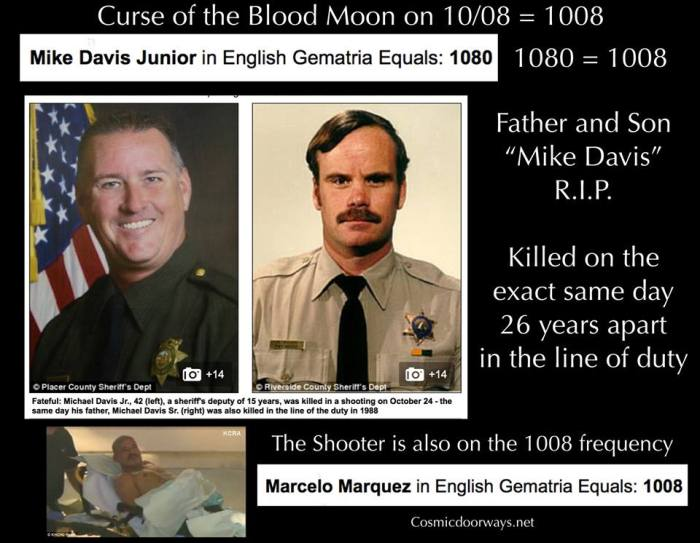 "10-24-2014: Keys to Cosmic Doorways -   Curse of the 10/08 Blood Moon Continued-- What are the odds that a Father and Son, who are both officers of the Law, would be killed in the line of duty on the exact same day, 26 years apart? That's exactly what happened on October 24th. What are the odds that the Curse of the 10/08 Blood Moon would connect it's Gematria into this case? On October 24th, The officer killed was Mike Davis Junior. MIKE DAVIS JUNIOR = 1080 = 1008 The shooter and killer of Mike Davis Junior is Marcelo Marquez. MARCELO MARQUEZ = 1008 Previous 1008's: Shiva, Lord of the TRIDENT has ""1,008"" Holy Names 1008 has run rampant in ""News Gematria"" lately: 10/08 = Date of the Blood Moon 10/08 = Date of America's first Ebola Death 1008 = Thomas Eric Duncan First Ebola Patient 1008 = Amber Jay Vinson Third Ebola Patient 1008 = Martin Rouleau Canadian Jihadist A natural cure for Ebola colloidal silver = 1008 On October 23rd Ebola arrived in ""NEW YORK CITY"" = 1008 in Gematria"