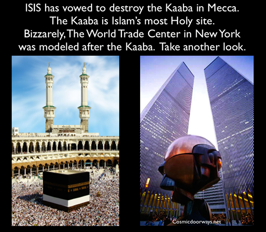 "9-4-2014: Mark Gray -  ISIS TERRORIST vows to destroy the Kaaba in Mecca. ""If Allah wills, we will kill those who worship stones in Mecca and destroy the Kaaba. People go to Mecca to touch the stones, not for Allah."" The Kaaba, in Mecca, Saudi Arabia is Islam's most Holy Spot. Most people are not aware that the Original World Trade Center site and Twin Towers we're designed to be America's Kaaba. Now, the 911 Memorial has fulfilled that role. The Memorial is America's ""Black Cube"" and everyday Americans circle it."