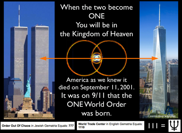 "9-3-2014: Keys to Cosmic Doorways -   On September 11, 2001 America as we knew it was destroyed, and the One World Order was born. The ""Twin"" Towers we're symbolic of the dualistic nature that existed in America and all of it's citizens..... The Whites / The Blacks The Rich / The Poor The North / The South The East Coast / The West Coast Republicans / Democrats Pepsi / Coke Christian / Muslim Gay / Straight Us and Them ETC... It is said, that a Nation divided against itself, cannot stand.... The Powers that run the World, are following a Plan for America- The Plan, is to destroy America through Chaos and Confusion, and out of that Chaos and Confusion a New World of Order will emerge. You see, The New World Order cannot exist with America as a sovereign Nation. It cannot exist as long as America and its citizens have the Constitution and the Bill of Rights. Therefore, America, the Constitution, and the Bill of Rights must all be destroyed. We then will be merged and blended into a One World Government and we will all be Global Citizens. The Plan is called ORDO AB CHAO - Order out of Chaos 9/11 was a catalyst in that process. It was a Grand Alchemical Ritual. September 11, 2001 - Opposing ideas, opposing religions, and opposing beliefs we're ALL thrust against each other that day , the powerful explosion of colliding cultures, governments, and religions can still be felt today, 13 years later. With the destruction of the TWO towers (duality), and the emergence of the ONE WORLD trade center (UNION) at ground zero, we are well on our way to what comes next. The Rise of Radical Islam is part of this Grand Plan as well..... We will all fight each other to the Death, and the World will be a sea of Blood, just to make it all happen. Unless. Unless Enlightened People use their MINDS and HEARTS. We must THINK and FEEL our way out of this sh*t hole we are in. ""When the TWO become ONE, then you will be in the Kingdom of Heaven."" - Thomas 24:22 Order out of Chaos = 777 = Perfection World Trade Center = 1110 = 111 = TRI-Dent"