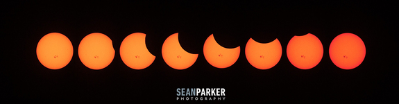 """Photographer Sean Parker created this mosaic of the partial solar eclipse by snapping photos of the event every 25 minutes on Oct. 23. He took the photosfrom Tucson, Arizona, using a Canon t3i camera with a 70-200 F/4 lens, Canon 2x Extender and a solar filter. """"The spots you see are actually large sunspots,"""" Parker wrote in an email. Credit: Sean Parker.  Skywatcher Mark Ezell watched the Oct. 23, 2014 solar eclipse from Austin, Texas, where he captured amazing views of the event as it occured over Lady Bird Lake near the city's downtown area. Skywatcher Mark Ezell watched the Oct. 23 solar eclipse from Austin, Texas, where he captured amazing views of the event as it occured over Lady Bird Lake near the city's downtown area. """"This was my first time photographing a solar eclipse and I was thrilled to capture the sunspots as well,"""" Ezell told Space.com in an email. Ezell used a homemade Baader film filter and a 200mm lens to capture this view. Credit: Mark Ezell. The partial solar eclipse of Oct. 23, 2014 is seen with the silhouette of a building top in Austin, Texas in this view of the celestial event captured by skywatcher Mark Ezell. In this photo, also by skywatcher Mark Ezell, the partial solar eclipse is seen with the silhouette of a building top in Austin, Texas, where Ezell was observing from. Credit: Mark Ezell. Photographer Shreenivasan Manievannan in South Carolina captured this view of the partial solar eclipse of Oct. 23, 2014 through fog and power lines, revealing an ethereal view of the event and giant sunspots on the sun.   Photographer Shreenivasan Manievannan in South Carolina captured this view of the partial solar eclipse of Oct. 23, 2014 through fog and power lines, revealing an ethereal view of the event and giant sunspots on the sun. """"Unfortunately clouded out, got these shots of the eclipse with a layer of fog over the sun. Hope you like them,"""" Manievannan wrote in an email. He used a 300mm lens on a 1.5x crop sensor with layers of ND, UV and"""