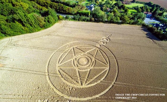 8-31-2014: Pentagram Crop Circle at Ark Lane (2), nr Stroud Green, Essex, United Kingdom