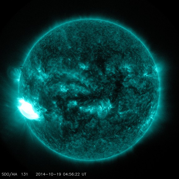 A monster solar flare erupted early Sunday (Oct. 19) from a huge sunspot that may just be getting warmed up. The sun fired off an X-class solar flare — the most powerful type — that peaked at 1:01 a.m. EDT (5:01 GMT) Sunday. NASA's Solar Dynamics Observatory (SDO) spacecraft captured photos and video of the intense sun storm, which researchers classified as an X1.1 flare. The flare erupted from a sunspot called AR (Active Region) 2192, which has since grown to become 78,000 miles (125,000 kilometers) wide, according to Spaceweather.com — almost as big as the planet Jupiter.