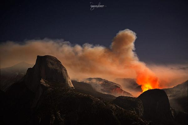 9-8-2014: Dramatic photo of the #MeadowFire in #Yosemite National Park last night, courtesy of Susan Holt. #cawx