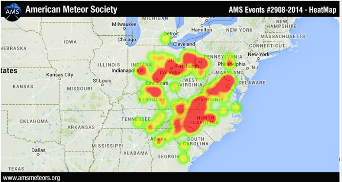 The American Meteor Society has received over 1100 reports of a bright fireball on Monday evening, November 3, 2014. It was observed over a large portion of the eastern USA stretching from Georgia northward to Ohio. This event occurred near 6:23pm eastern standard time or 23:23 Universal Time. While processing these reports the feature that was most mentioned was the vivid green color mentioned by many witnesses.  Individual reports may be seen at: Report #2908 for 2014. More details will be provided as information arrives. With over 1100 reports, this event ranks among the top 5 fireball events reported to the AMS over the last 10 years.