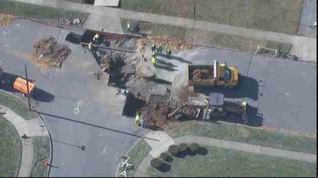 11-21-2014: BETHLEHEM TWP. — Another work truck sinkhole. This die to a water main break. The rear of a dump truck fell into the crater on 1800 block of Hampton Road. It has since been removed.