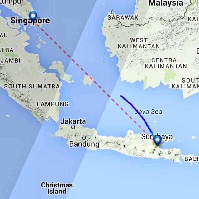Flight map of missing AirAsia flight #QZ8501 from FlightRadar 24. #PrayForQZ8501