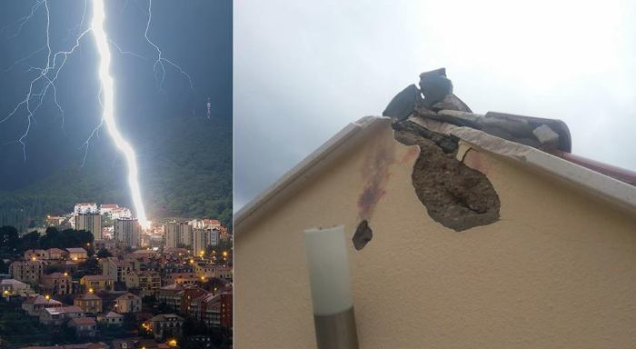 1-17-2015: Amazing shot of a CG lightning bolt hitting a building in Dubrovnik, Croatia last night and its corresponding damage! Photo: Daniel Pavlinović - www.danielpavlinovic.com / Robert Mazarekić / Storm Chasers Dubrovnik Reed Timmer: Meteorologist and Extreme Storm Chaser UK Weather Snaps