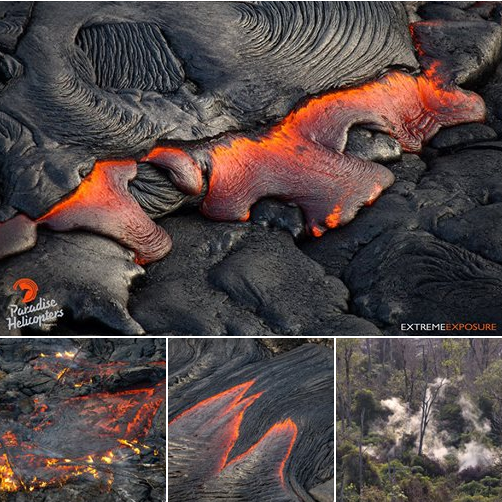 1-16-2015: Hawaii 8 am - Pahoa & Pu'u 'O'o overflight: A few images illustrating the wide variety of activity throughout the flow field.  credit:  Bruce Omori