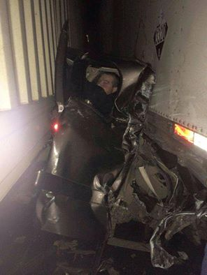1-17-2015: Unbelievable! This man is doing just fine after a massive pile-up had him stuck between two semi trucks on I-84 in Eastern Oregon. credit: NWCN News