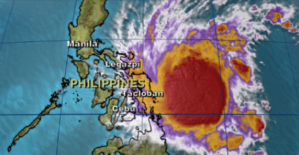 1-16-2015: @cnnbrk: Typhoon to make landfall in Philippines two hours after start of Pope's outdoor Mass.  Pope Francis donned a slicker to conduct an outdoor Mass for hundreds of thousands who gathered Saturday morning in the Philippines despite stormy weather. The Mass in Tacloban was shortened because of an approaching typhoon that had sustained winds of 80 mph and higher gusts.