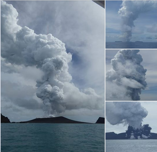 1-14-2015: Following a request from the Tongan Government, New Zealand is providing assistance to investigate the volcano erupting in Tongan waters. A representative from the High Commission was on board one of the first surveillance trips and took these photos. Following a request from the Tongan Government, New Zealand is providing assistance to investigate the volcano erupting in Tongan waters. A representative from the High Commission was on board one of the first surveillance trips and took these photos.  via: New Zealand High Commission, Nuku'alofa, Tonga