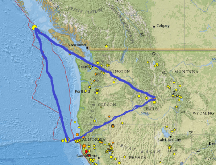Northern California , Canada , and Idaho Earthquakes form a Triangle! 1-1-2015: M5.4 - 128km W of Ferndale, California 12:16:14 UTC http://earthquake.usgs.gov/earthquakes/eventpage/nc72373456#summary 1-2-2015: M5.2 - 195km SW of Bella Bella, Canada 10:15:36 UTC http://earthquake.usgs.gov/earthquakes/eventpage/usc000tb91#summary 1-3-2015: M4.9 - 7km E of Challis, Idaho 17:44:03 UTC http://earthquake.usgs.gov/earthquakes/eventpage/usc000tbfq#summary