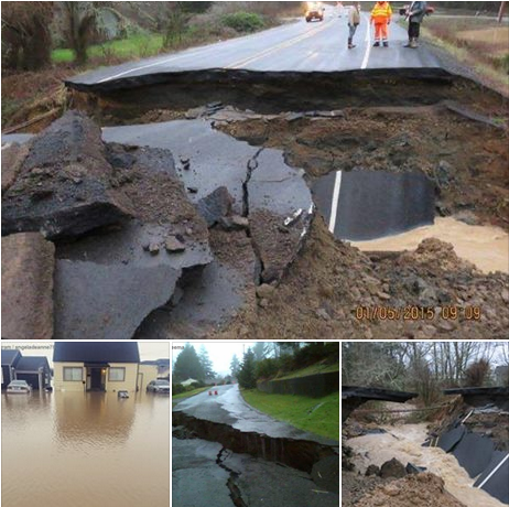 1-5-2015: Heavy rains washing out roads and triggering flooding in parts of Washington  -- ABC News Weather