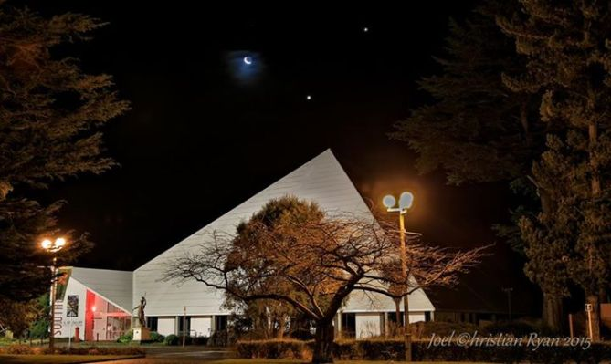 6-20-2015 via Joels In-Sights: Sacred Geometry,night before the Solstice Moon - Venus - Jupiter above the Southland Museum,Invercargill