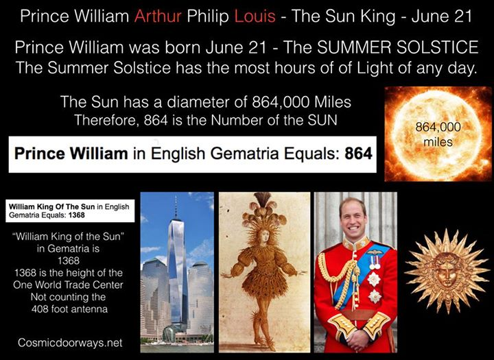 6-21-2015: via Keys to Cosmic Doorways: Glory to the SUN on this Solstice- Also, Happy Birthday-- Prince William Arthur Philip Louis - The Sun King - June 21 Prince William was born June 21 - The SUMMER SOLSTICE The Summer Solstice has the most hours of Light of any day in the year. Some say Prince William was taken by Cesarian section from Princess Diana so that he could be empowered by the Sun on its greatest day, June 21. Prince William has therefore been called