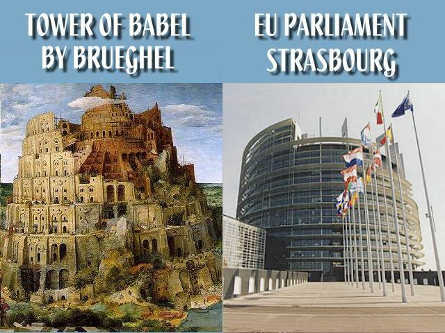 Tower-Of-Babel-By-Pieter-Brueghel-Vs.-EU-Parliament-Building-At-Strasbourg